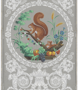 Scrolling foliate medallion enclosing squirrels perched on branch amidst fruit and flowers.
