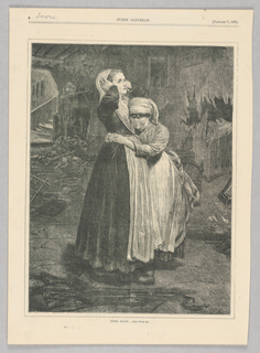 Two central figures in an interior space. A girl hugs a taller woman. The woman holds both her hands to her head, looking over the head of the girl. The interior space the women are in is in disarray and parts are falling apart.