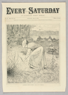 A woman bends down to gather Spring flowers in a field.