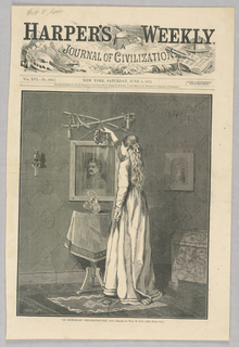 A woman stands in front of a personal memorial for a fallen soldier, hanging a wreath over the painting of him, Above the painting hangs a sword. Below the painting, on a table, is a vase with flowers. Decoration-day, or Memorial Day, to remember and honor those fallen in combat, has its origins with the Civil War.