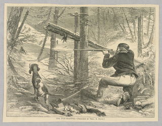 A man hunts in a snowy forest. He points his rifle towards a small creature that is running away. To his left is his hunting dog, and in the center of the image can be seen the animals, perhaps minks, he has already killed and the traps that they were presumably caught in.