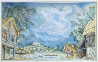 Drawing, Stage Design: Village with Castle in Background, for Falstaff