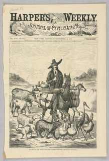 An artist with long hair and a hat rides a horse, his sketches strapped to the side of the horse. He is surrounded by various animals, all attached to his horse by rope.