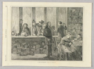 Scene behind the counter at a Pawnbrokers shop. Sellers present their goods to the pawnbrokers, while a woman and child sit at a table, looking at items.