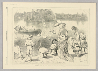Figures stand in front of a body of water alongside swans. Two children, a boy and a girl, hold out bread to the swans while two women stand beside them. In the water are more swans and a boat with more people in it.