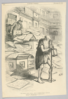 The Ancient Greek Philosopher Diogenes was known for having carried around a lamp while claiming to be looking for an honest man. This image depicts him looking back towards Uncle Sam, who sits behind a pile of newspapers that bear news about fraud and corruption in America. The title of the image is a reference to an exchange between Rosencranz and Hamlet in Shakespeare's Hamlet.