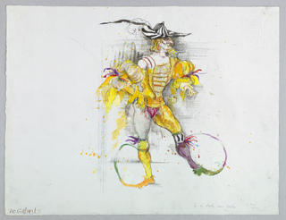 Horizontal format. Male figure in wide brimmed black and white striped hat with feathers, close fitting yellow costume with puffed sleeves, pointed shoes, the long toes of which extend in an arc and are attached to his knees.
