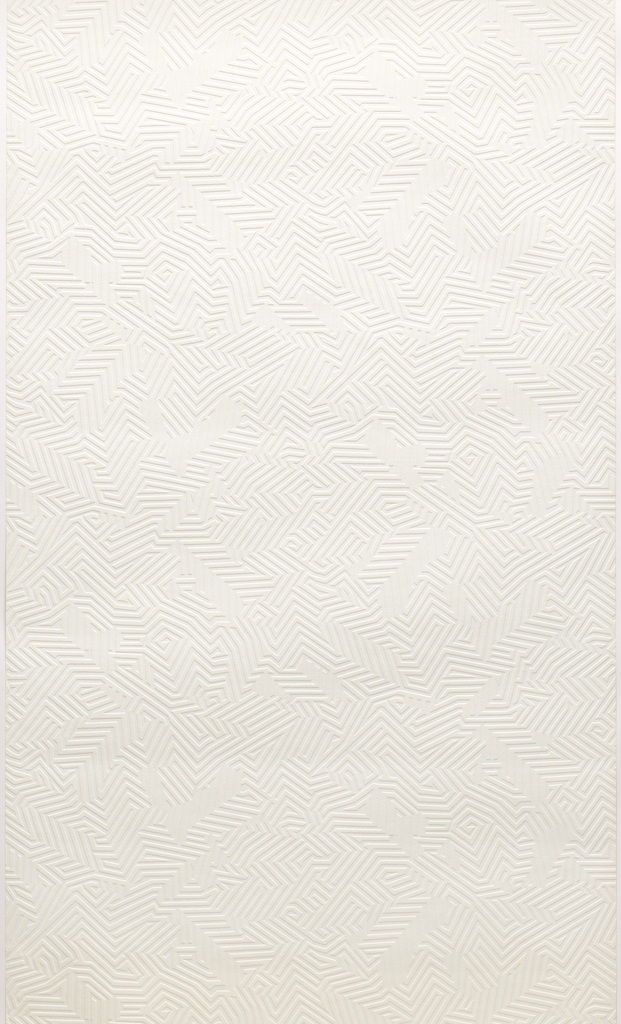 All-over pattern of white maze-like design on white.