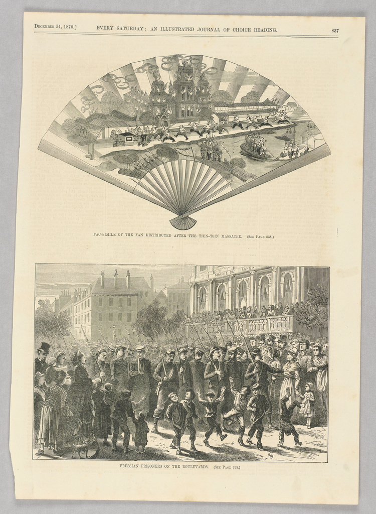 The top illustration is in the shape of a fan. On the fan, we see fighting figures, many shirtless, some carrying swords and some carrying spears. Buildings can be seen on fire behind the fighting figures. Some figures are in boats or platforms in the water. The bottom illustration shows soldiers marching with Prussian prisoners on a boulevard while onlookers, including children, watch. Some figures watch from a balcony above.