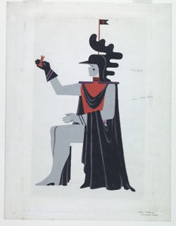 """Costume design for the character Death in """"Checkmate"""". Seated figure in left profile wearing a gray costume with red shirt, black cloak, and black helmet with a black and red pennant. Figure holds a red rook its right, black, gloved hand. Color notations."""