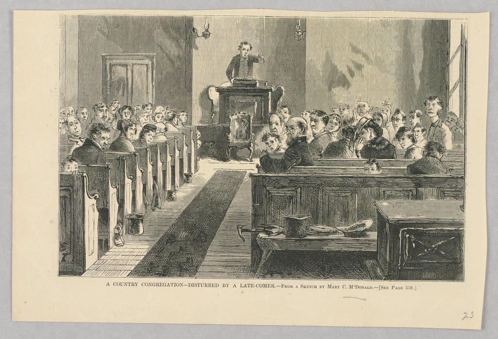 A congregation turns towards the door of a church as a late-comer enters, the viewer observing the scene from the position of the late-comer. The minister has paused mid-sermon, his hand still in the air.