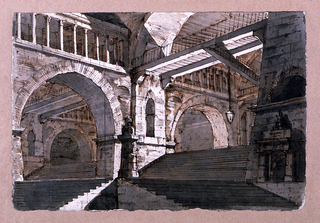 Horizontal rectangle. Design for a stage set.  Stairs leading up into enormously high vaulted interior.  Large arched openings lead into further spaces.  Colonnaded clerestories and walkways in upper parts of the interiors.