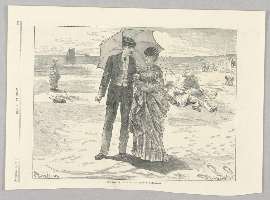 A beach scene. In the center, a woman holding a dog and a man holding an umbrella to shield both of them from the sun. Various beach visitors in the background with water and boats behind.