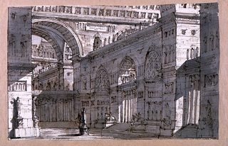 Drawing, Stage Design, Palace Courtyard