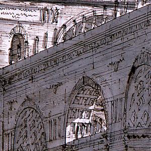 Horizontal rectangle. Design for a stage set, entrance into a vast palace in antique style.  Massive arcaded walls meet each other at the right angle.  A part of the vaulted coffered ceiling of one of the spaces visible at the top. Sculptures on pedestals below.