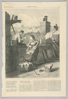 A woman looks away from hanging her laundry on a clothesline on her roof to talk to a man, likely a mason doing construction on the house-top, who is holding a trowel in his right hand.