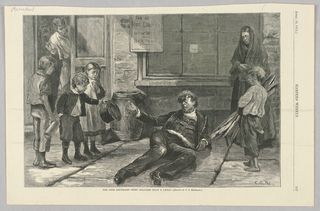 A drunk man lies in the street.  A group of children and a woman stand on either side. A child hands him his hat. Two men look on from a doorway to the left of the image.