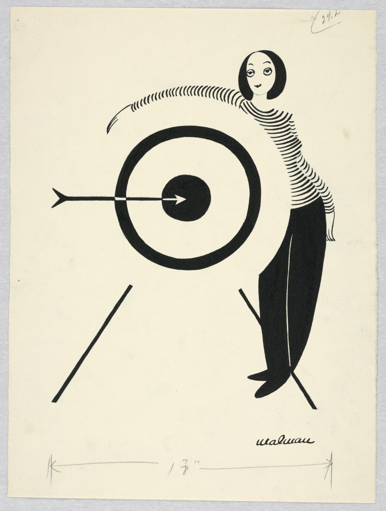 Woman in striped shirt and black pants standing, right. Her arm is draped over a target with an arrow at the center.