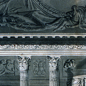 Design for a bedroom.  Only the main wall is depicted.  Three steps lead up to an alcove, the center of which is occupied by a bed.  The bed is framed by a drapery, pulled back by two female statues.  Unevenly spaced columns support the front entablature.  Four candelabra stand between the columns.  The candelabra are composed of a warrior and a girl supporting trays with candlesticks.  The wall behind is richly ornamented with reliefs.  Two main relief panels show two figures leaning against large oval medallions.  At the top, is a part of a curved ceiling, showing two captives and trophies of weapons, two girls beside an escutcheon, a segment of a painting, the sky, and putti.  At the far left is shown a small fragment of the elevation of the alcove niche and a part of a wing of a folding door.  At the bottom of the composition is an indication of the scale: 12 Pieds.