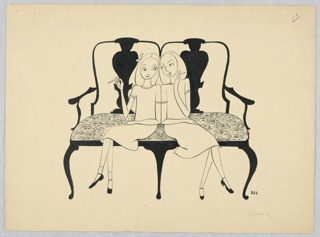 Horizontal rectangle. Sofa with back similar to a double chair, with arms. Two young blond girls in white sit facing front with crossed legs, smoking cigarettes.