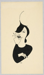 Vertical rectangle. Woman's shoulders and arms make one black triangle; the hat, another. Her hand with the cigarette at her chin.