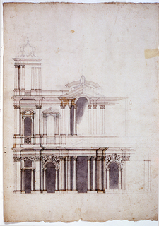 Incomplete drawing of a church facade with a side tower (at left).   The most finished section of the drawing is at the lower left.  Two stories facade with series of columns and pilasters alternating with arches and windows.