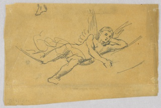 Sketch of a reclining female figure with wings.