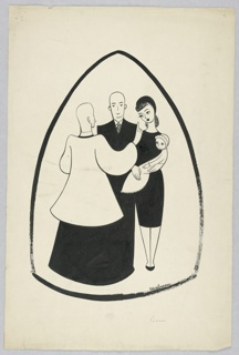 Priest with his back shown; his right arm up in a pointing gesture. The parents, dressed in black, center and right. The baby, wearing a bonnet, held by the mother. All enclosed within a mitre-like shape.