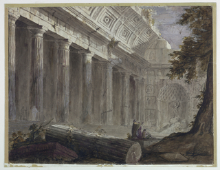 Horizontal rectangle. Partially ruined temple with columns on left and large niche at the back containing fountain with statue of Neptune (Poseidon) with raised trident. Tree at right, sky appears in top of ruined vaulted ceiling. Group of men in contemplation gesture towards statue, two additional figures near column at left.