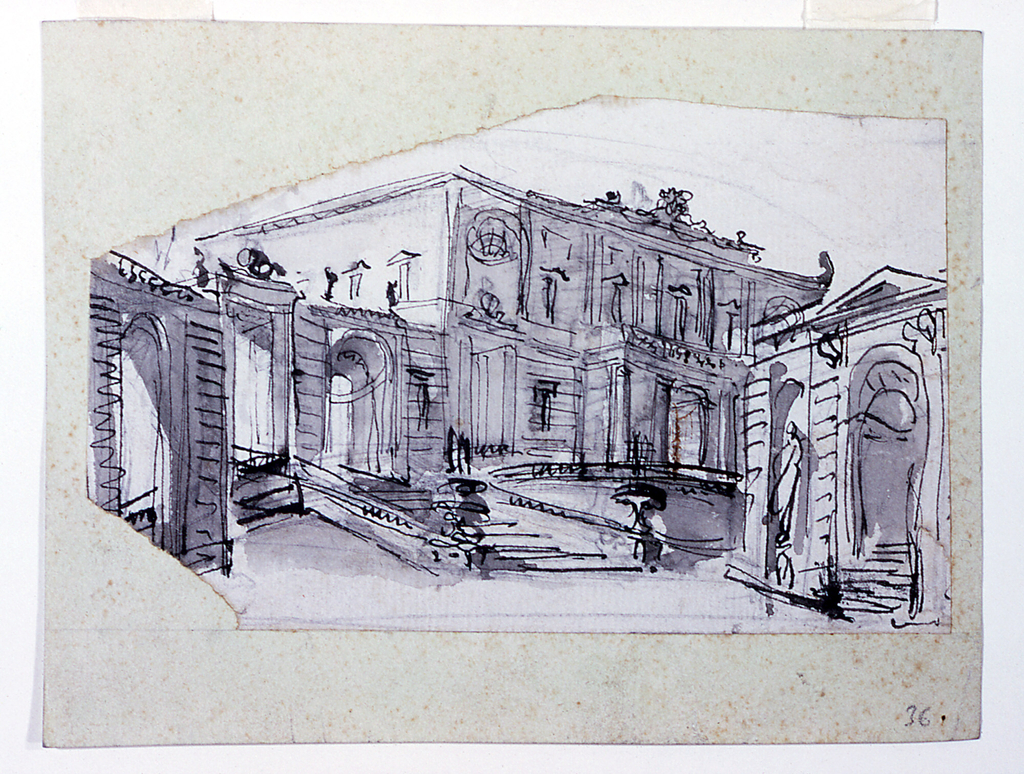Design For A Stage Set Palace Facade Seen From The Left Angle And