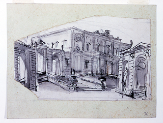 Design for a stage set.  A palace facade seen from the left angle and from below.  At left, stairs lead through a porch into a garden.  Pavilion to the right.  Pencil mark above, indicating a curve.