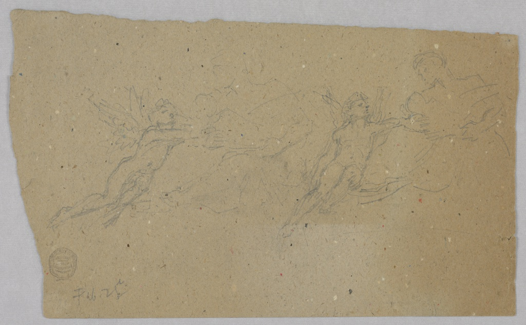Faith is shown twice. The angel kneels beside her, at left, and is shown seated beside her, at right. Verso: A woman's face, top left; in profiile toward left, bottom right.