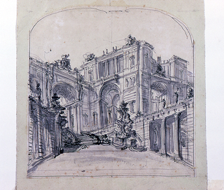 Vertical drawing with ruled border curved at top, showing palace façade seen  from the side.