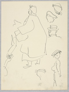 Vertical rectangle. Sketches of a large woman, turned away to left; a boy with NIAGARA FALLS hat, lower right; and three heads, upper right. Rought sketches for figures in 1960-214-112.