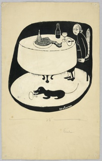 Vertical rectangle. An empty plate and glass, a chicken, and a bottle of Coca-Cola on the table, center. The woman, right, watches a black dog with a bone. Black background.