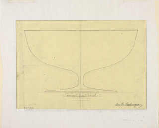 Design of a round fruit bowl on a low stem.