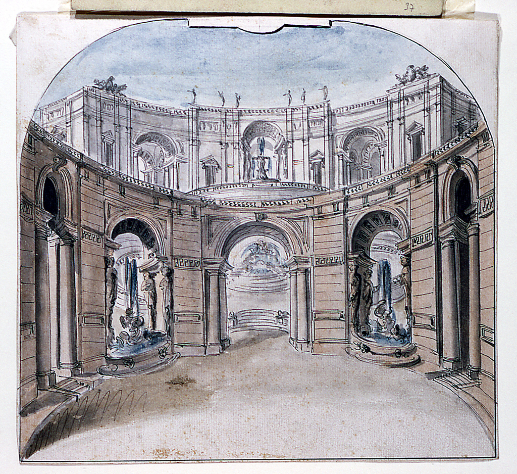 Design For A Stage Set View Of Palace Facade Consisting Circular Arcade In The