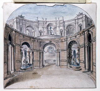 Design for a stage set.  View of palace facade consisting of circular arcade in the foreground, surmounted by arcades in the back, niches with fountains. Ruled and curved border at the top.