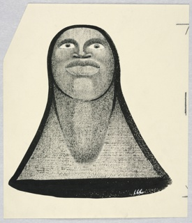 Vertical rectangle. Bust of a woman looking straight up to the front. The top of her head makes the third point (rounded) of a triangle, outlined in black. The other two points, her shoulders.