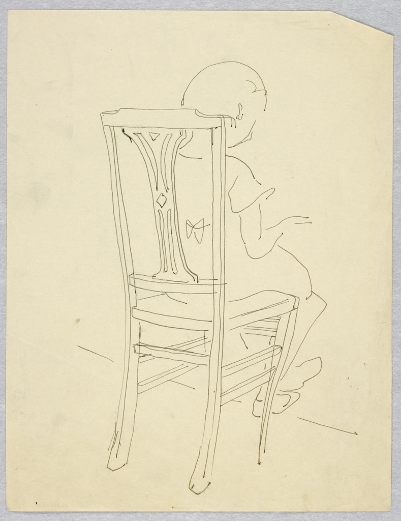 Vertical rectangle. Sketch of a child facing away, the hadns in position for playing a keyboard instrument, sitting in straight-backed chair.