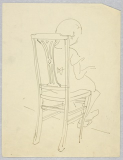 Sketch of a child sitting in straight-backed chair facing away, hands in position for playing a keyboard instrument.