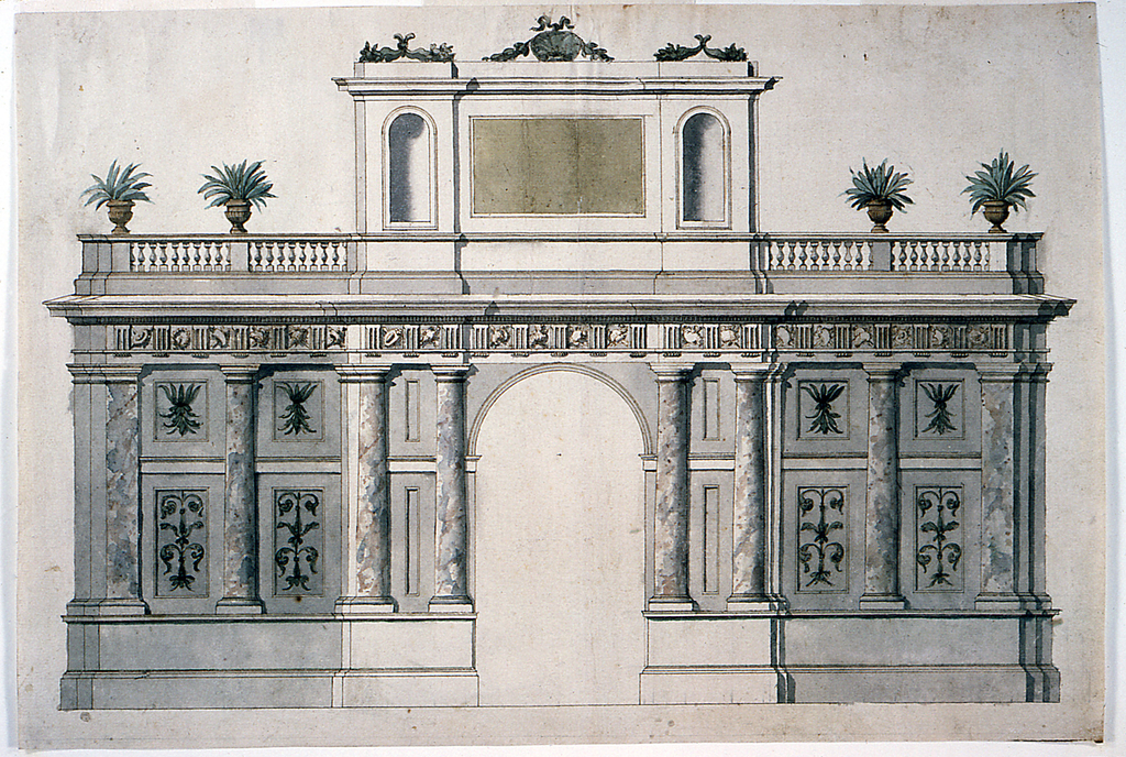 Design for a garden pavilion or decorative wall.  A wall with an arched opening at the center.  It is flanked by two pairs of embedded columns; the flanking parts of the wall are divided by columns into two panels which are decorated with oblongs with floral motifs.  Pilasters are at the corners.  Above is an entablature with frieze with triglyphs and trophies of weapons.  Balustrades with two vases with plants are above the lateral walls.  Above the central part is an attic, consisting of a central part with a tablet for an inscription, flanked by two parts with niches.