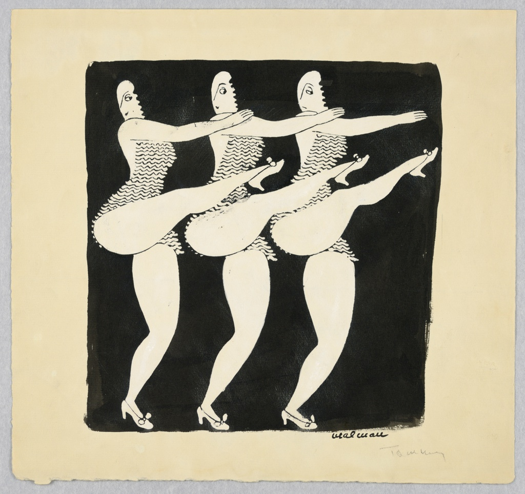 Three women side-by-side as in a chorus line, mid-kick, wearing frilled leotard costumes and high heels. Heads turned to the left, eyes to the right.