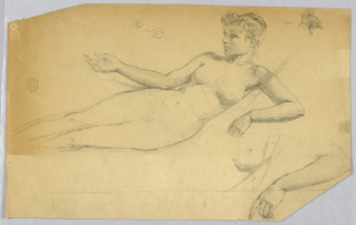 "Study after the model. Sketch for the upper part of the body, the lower being outlines, and for the left eye, breast, forearm, and hand. Verso: a part of the plan, labeled ""Hall"" in graphite; with blue crayon: ""S"", ""E"", ""N"""