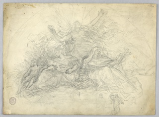 Charity holds a baby, another child stands beside her. The angel is seated and leans his left arm on her leg. Faith holds the cross on her left knee and leans her right hand on the open Bible. Hope appears as a winged figure in the center, holding the shaft of an anchor, with arms outstretched. Another unfinished sketch of Christ, lower left.