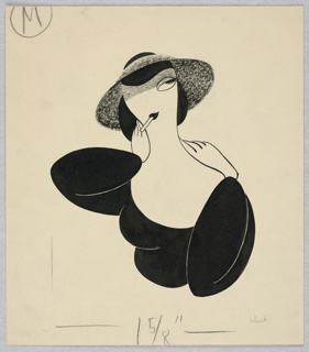 Vertical rectangle. Woman in low cut, long sleeved black dress, with a gray hat and smoking a cigarette. Her hands at her shoulders. Facing front.