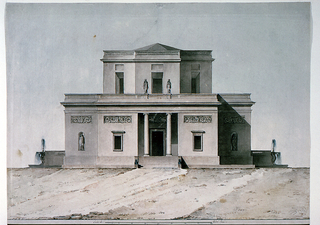 Elevation of a free standing villa.  The central part of the building has two stories, the upper one being octagonal.  Steps are leading to a porch with two Ionic columns.  In the flanking walls is a window and a frieze above it; another one above the door.  Two narrow receding wings project from the walls, each is decorated with a niche occupied by a statue and a frieze.  Additional two statues are standing beside the front window in the upper floor.  At the ground level, at both ends, are somewhat more receding terraces with a balustrade and a fountain, supported by swans standing in a basin as the concluding motif.  The building is elevated on a mass of land