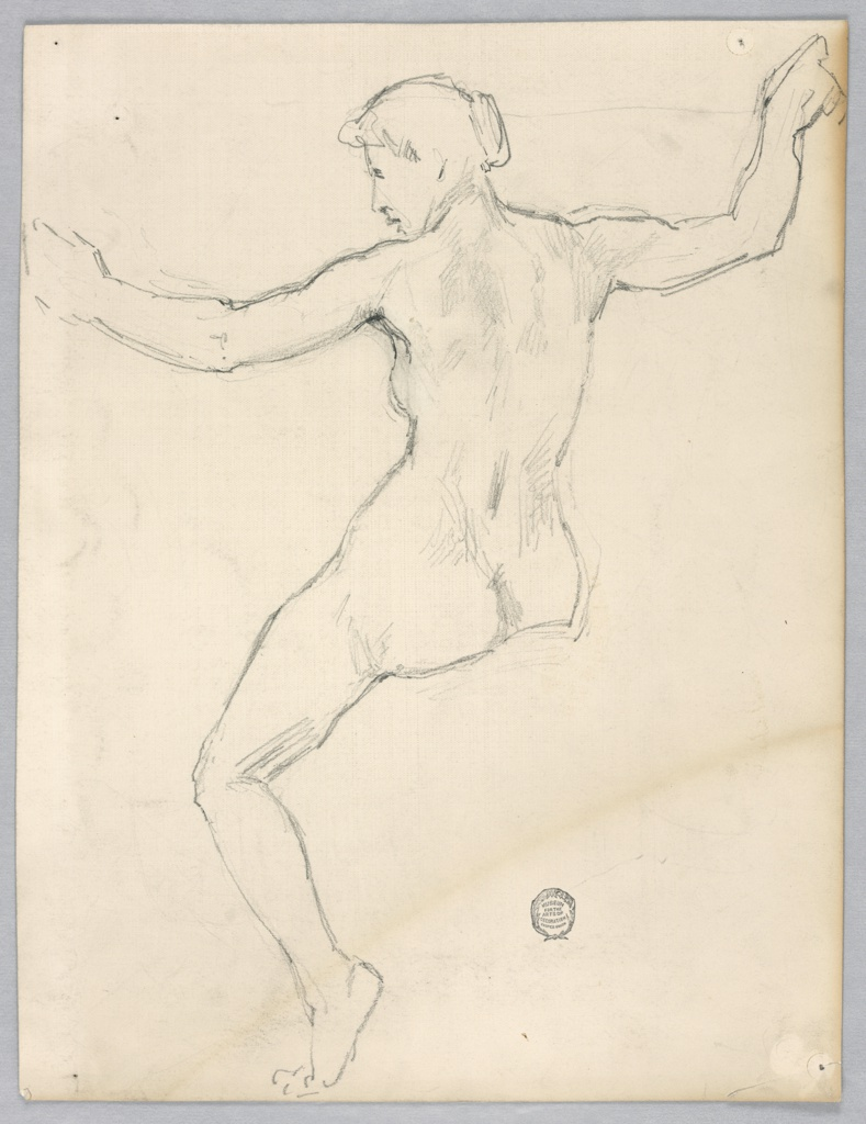 Nude female figure shown from the rear seated without an indication of the right leg. The hands are raised, with the arms slightly bent at the elbows. Verso: in opposite direction, rough sketch of the back with parts of the head shown.