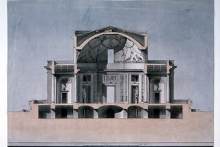 Section of a villa.  Three levels are indicated.  There are rooms in the basement, with stairs leading to them.  They are in the corners and originate from the inner octagonal plan of the central room.  In the oblique openings are statues, standing.  The central room and the rooms in the wings are not separated by walls.  There are no walls between the rooms in the wings and the squares.  Ionic columns support the entablatures.  The cupola is decorated with painted garlands and peacocks.