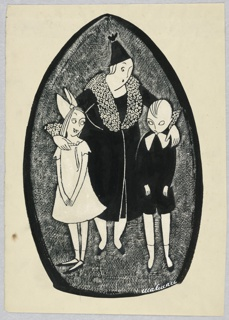 Woman in fur trimmed black coat and black hat, with an arm on the shoulders of a girl in white, left, and a boy in black suit with a bow, right.